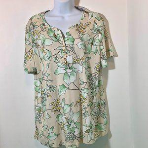 Karen Scott Floral Top Short Sleeve XL. NWT